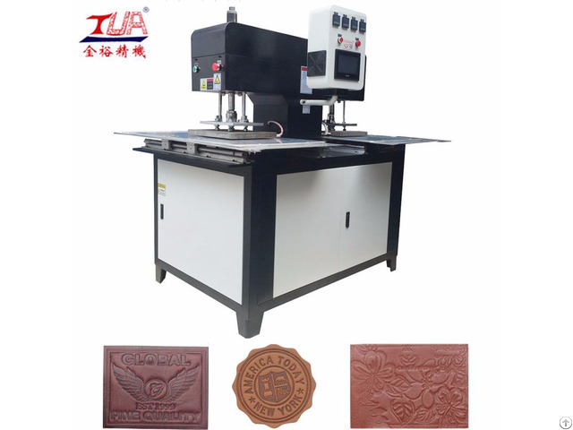 Stable Automatic Two Heads Leather Labels And Silicone Logo Embossed Machine