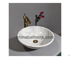 Carrara White Marble Bathroom Round Vessel Sinks