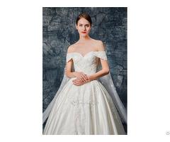 Sweetheart Neckline Lace Applique Satin Wedding Gown
