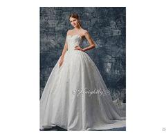 Stapsless Jacquard Satin Lace Applique Wedding Gown