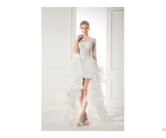 Short Sleeves Off Shoulder Sweetheart Lace Applique Ball Wedding