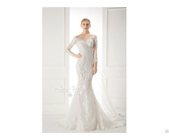 Long Sleeves V Neckline Lace Applique With Beads Sheath A Line