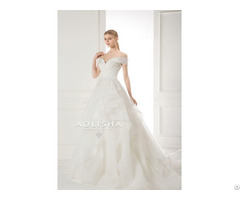 Off Shoulder Sweetheart Neckline Lace Applique Ball Gown Wedding