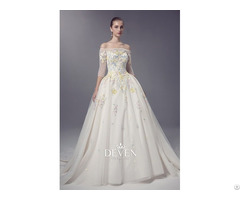 Off Shoulder Colored Lace Appplique Ball Gown Wedding