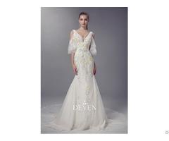 V Neckline Colored Lace Applique Sheath Wedding Gown