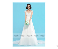 Sleeveless V Neckline Lace Sheath Wedding Gown