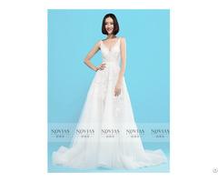 V Neckline Backless Lace Applique A Line Wedding Gown
