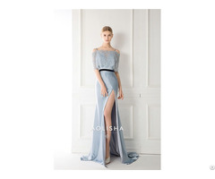 Off Shoulder Sheath A Line Satin Beaded Lace Jacket Evening Dress