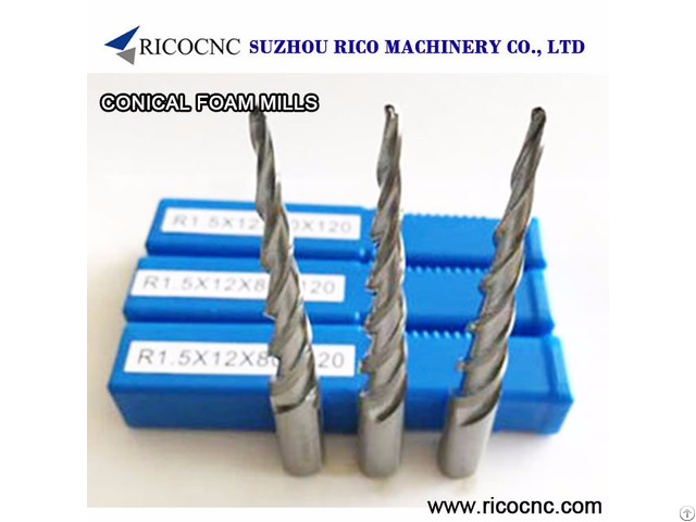 Conical Tapered Foam Router Bits Cnc Milling Tools Edge Taper Ball Nose