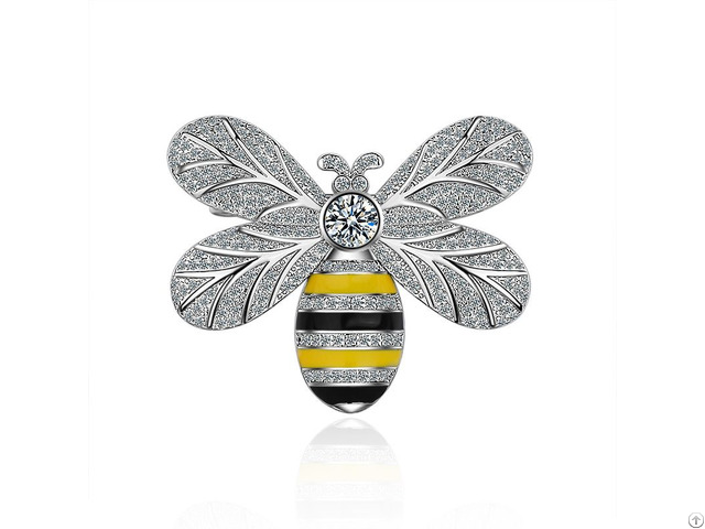High Quality Luxury Fancy Metal Pin Bee Shaped Brooch With Diamond