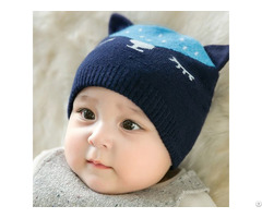 Wholesale Cute Kitty Ear Soft Knitted Winter Baby Hat Warm Beanies
