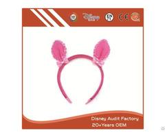Plush Pink Deer Ears Headband Printing Pattern