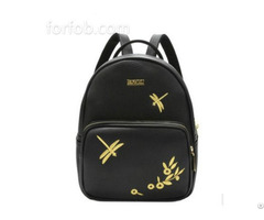 Ladies Floral Dragonfly Printed Portable Schoolbags Pu Leather Backpack