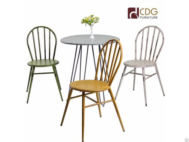 Vintage Metal Outdoor Lounge Stacking Chair Peacock Cafe Tables And Chairs  For Dining Room Wholesale
