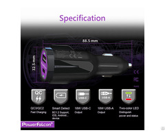 Powerfalcon 36w Dual Qc3 Usb C A Car Charger
