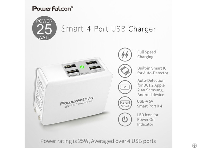 Powerfalcon 25w Smart 4 Port Usb Charger Foldable