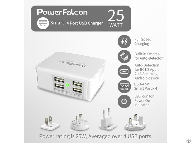 Powerfalcon 25w Smart 4 Port Usb Charger Interchangable