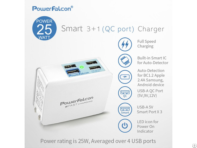 Powerfalcon 25w Smart 3 1 Qc2 0 Port Charger Foldable