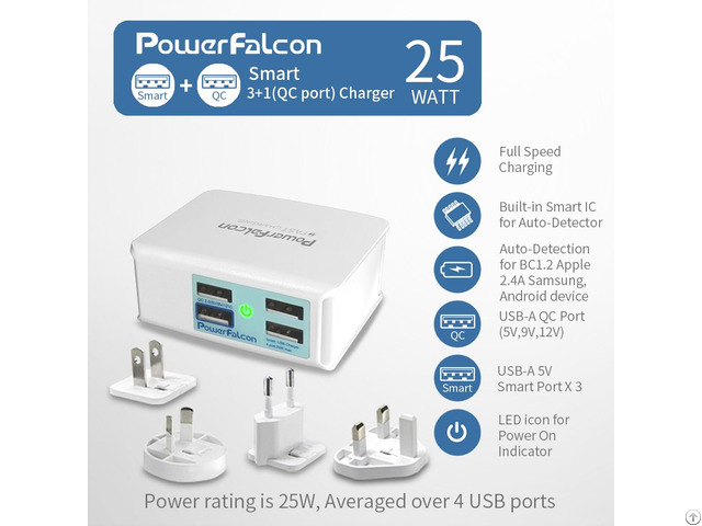Powerfalcon 25w Smart 3 1 Qc2 0 Port Charger Interchangable