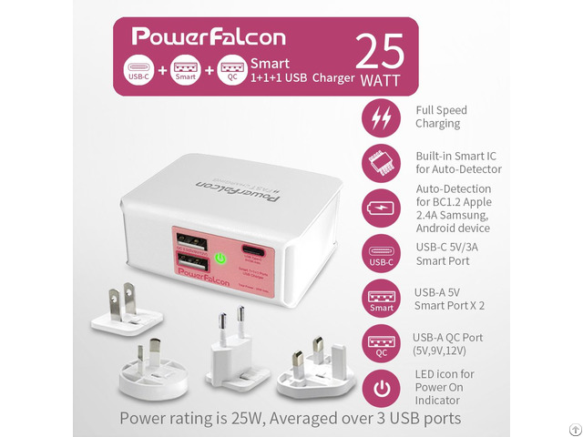 Powerfalcon 25w Smart Qc Usba Usbc Port Charger Interchangable