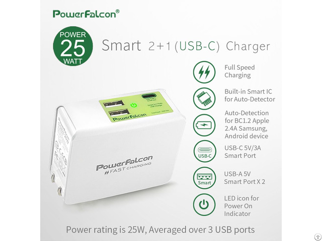 Powerfalcon 25w Smart 2 1 Type C Port Charger Foldable