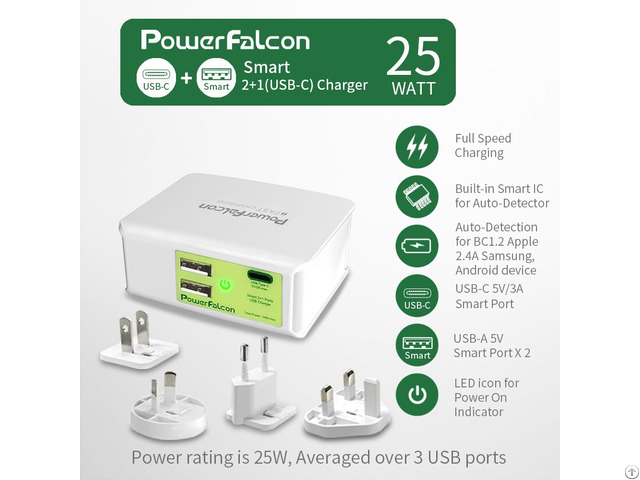 Powerfalcon 25w Smart 2 1 Type C Port Charger Interchangable