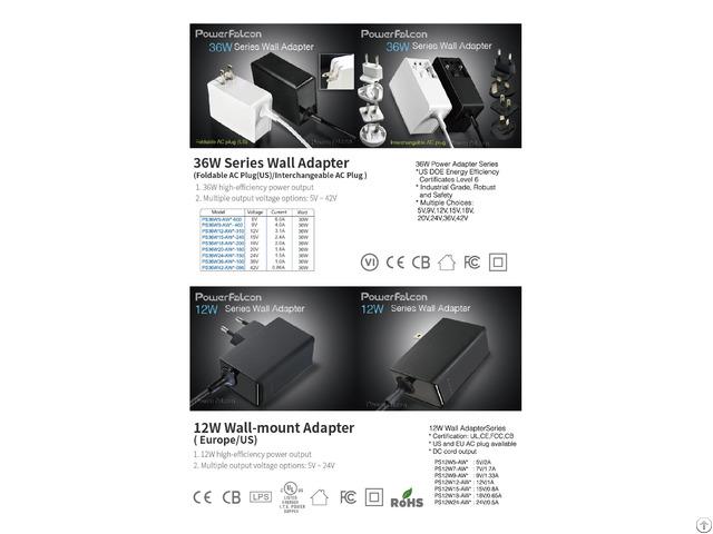 Powerfalcon 36w Wall Adapter Interchangable