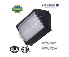 Lightide Dimming 1 10vdc 60w Led Wall Pack Lights 100 2770vac Glass Refractor 5 Years Warranty