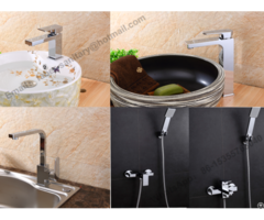 Deck Mounted Single Lever Chrome Plated Square Bathroom Brass Basin Faucet
