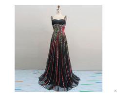 Beaded Spaghettl Straps Stain Maxi Dress