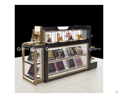 Four Sides Wooden Cosmetic Display Cabinet Branded Perfume Store Furniture