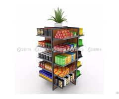 Four Sides Free Standing Wooden Rack Food Display Shelf