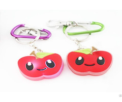 Pvc Red Apple Keychain With Smile Promotion Gifts