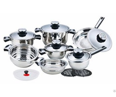 16pcs Stainless Steel Cookware Set With H Shape Handle