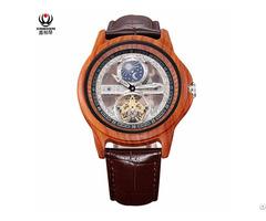 Xinboqin Waterproof Mens Automatic Mechanical Wood Watch Custom Logo