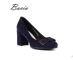 Blue Sheep Suede Pumps Bow Tie Natural Leather Shoes