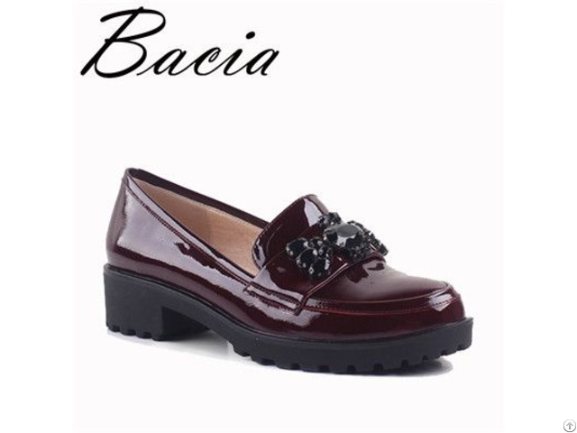 Wine Red Flats Bear Beads Decoration Genuine Leather Loafers