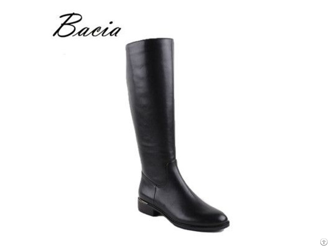 Black Women Genuine Leather Boots Low Heel Plush Shoes