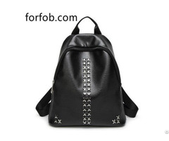 High Quality Modern Women Backpack Leather As Tassel Small Bag Purse With Rivets Washers