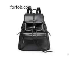 Custom Brand Small Black Pu Washed Leather Fashion Women Backpack Purse Ladies Bag