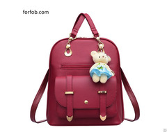 Simple Leather Fashion High Quality Backpack Purse With Belt Structural Hardware
