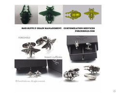 Customized Insect Motif Scarab And Bee Stainless Steel Cufflinks
