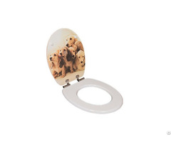 Cute Dog Designs Decorative Resin Toilet Seats Lid Covers With Soft Close Hinge