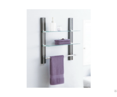 Two Tier Glass Shelf With Towel Bar
