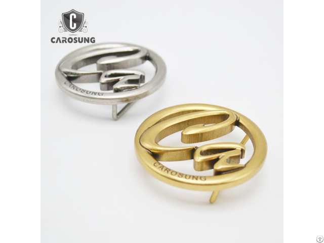 Carosung Custom Letter Logo Solid Brass Antique Gold And Silver Belt Buckle For Women