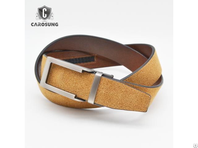 Carosung Genuine Suede Leather Automatic Buckle Ratchet Belt For Men