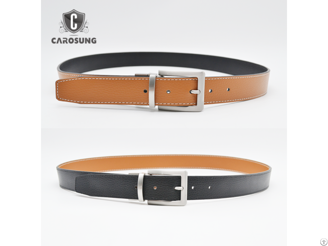 Carosung Genuine Leather Reversible Rotated Pin Buckle Belt