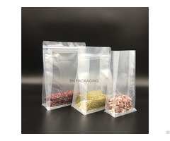 Strong Transparent Ny Flat Block Bottom Bags With Top Zip Sealing
