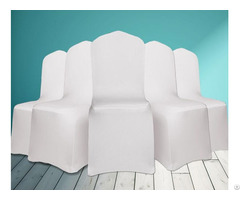 Universal Polyester Spandex Wedding Chair Covers Arched Front White