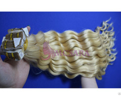 Tape In Wavy Hair Extensions Blonde Color 22 Inch